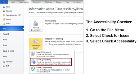 Screenshot of menu location of the Accessibility Checker in Microsoft Office applications